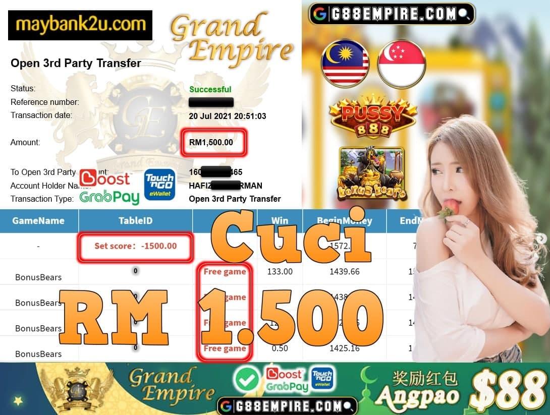 PUSSY888 - BONUSBEARS CUCI RM1,500!!!