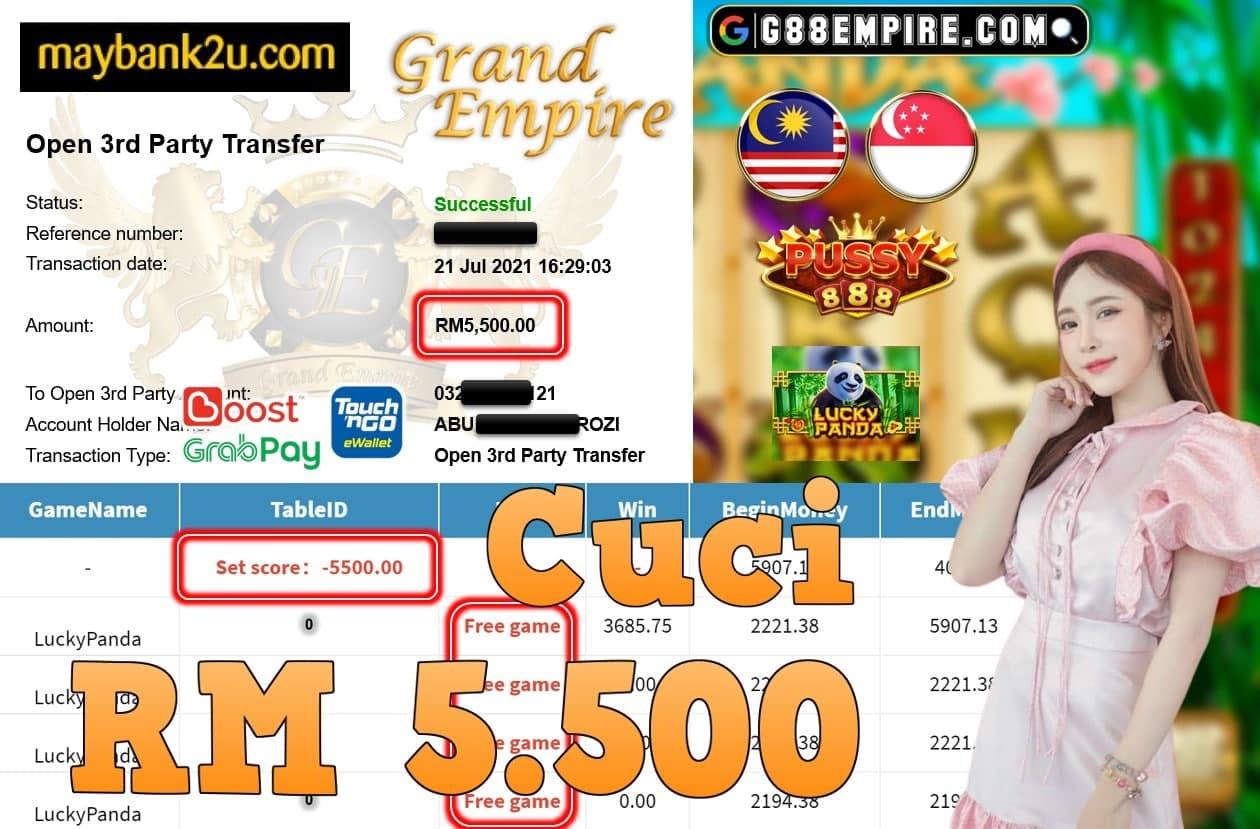 PUSSY888 - LUCKYPANDA CUCI RM5,500!!!