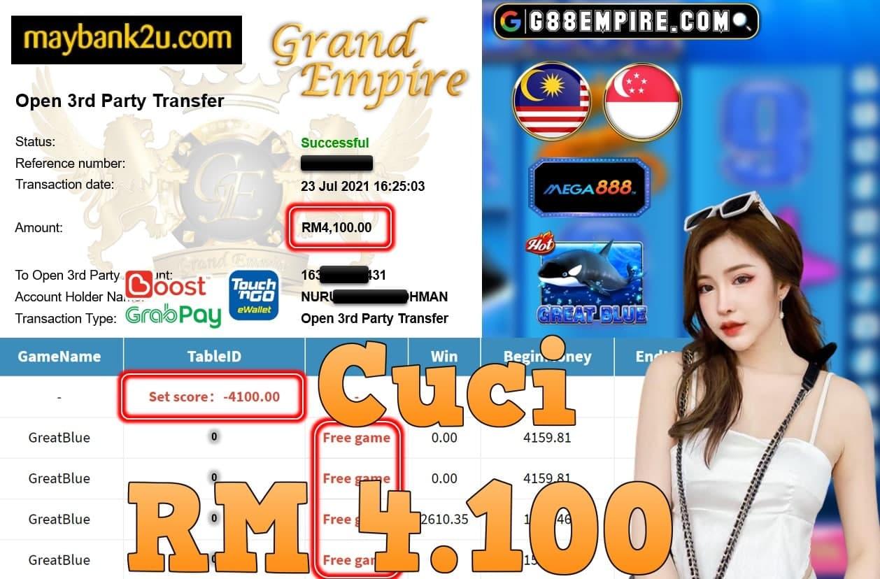 MEGA888 - GREATBLUE CUCI RM4,100!!!