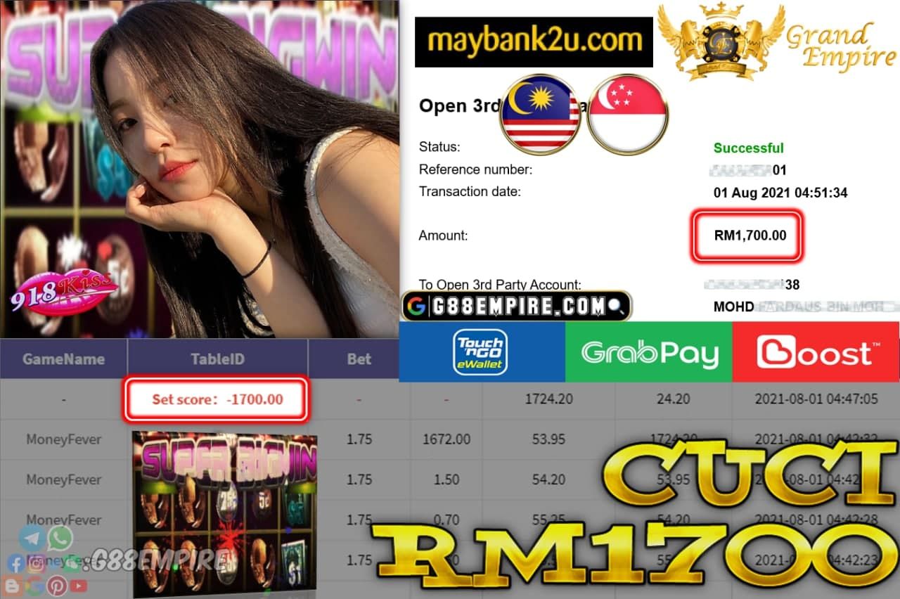 918KISS ORI - MONEYFEVER CUCI RM1,700!!!