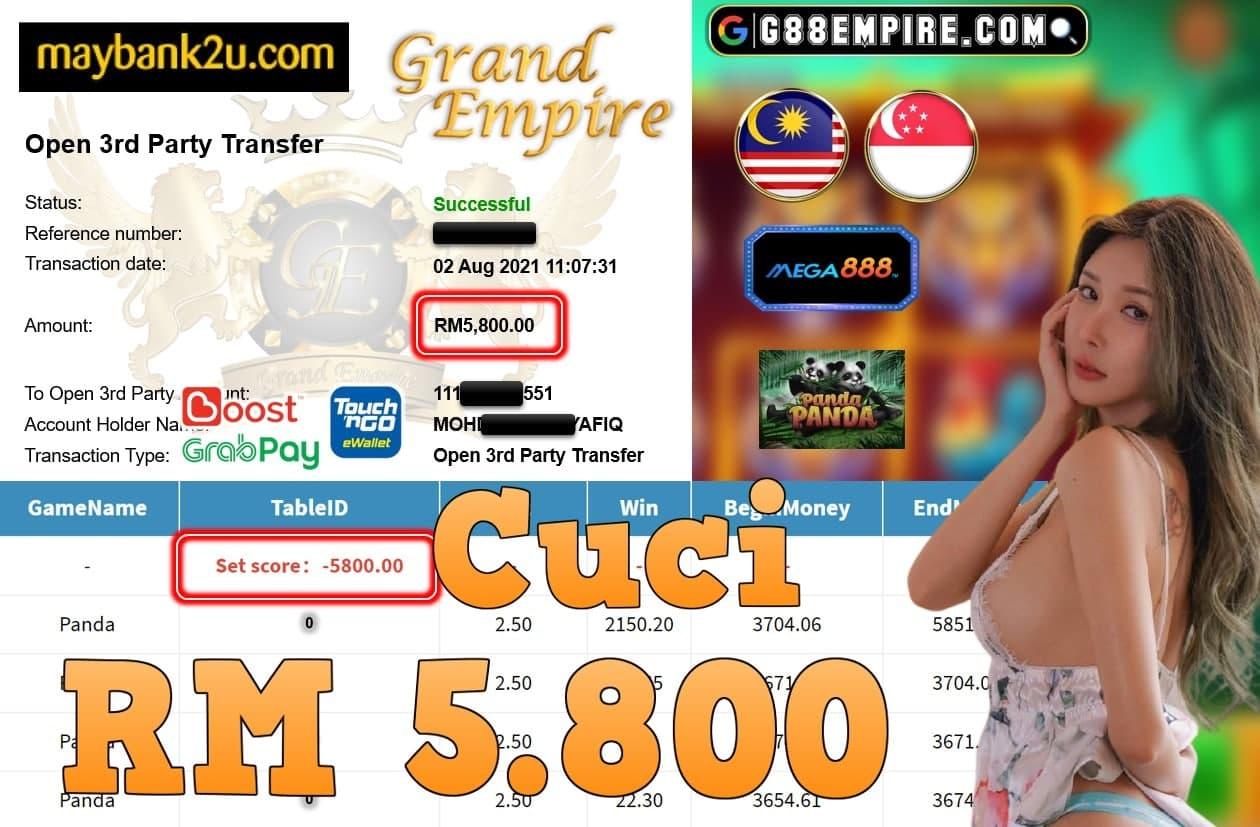 MEGA888 - PANDA CUCI RM5,800!!!