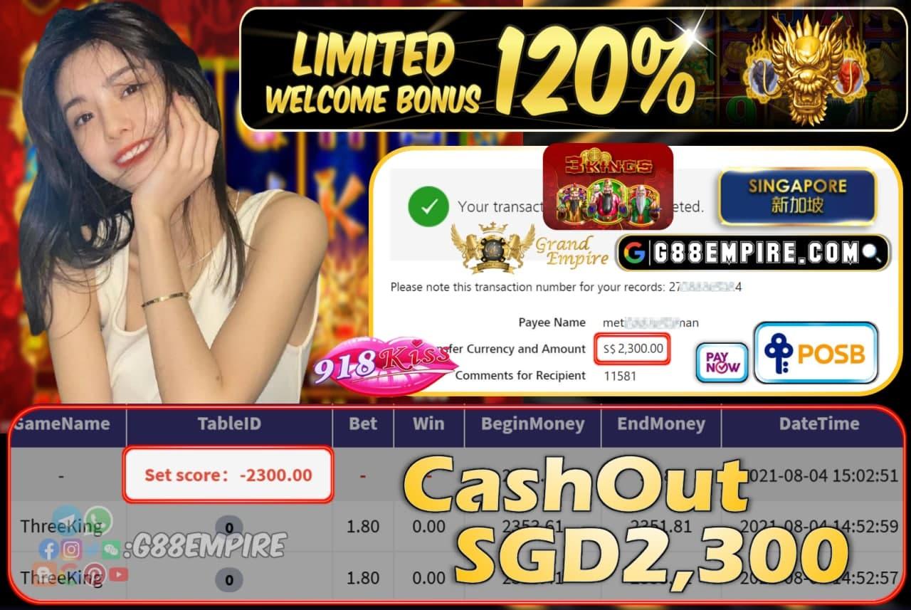 918KISS - THREEKING CASHOUT SGD2,300 !!!