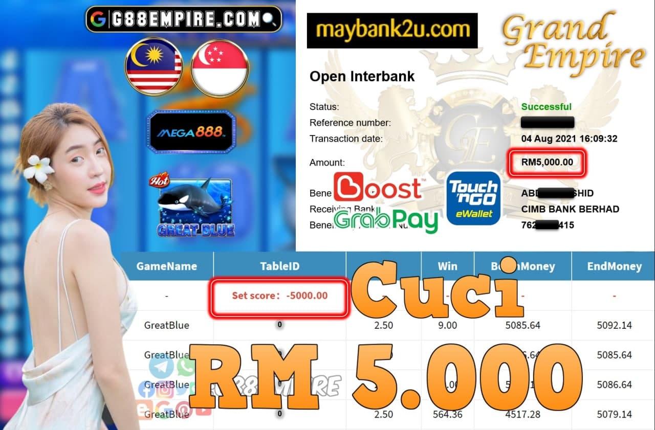 MEGA888 - GREATBLUE CUCI RM5,000!!!