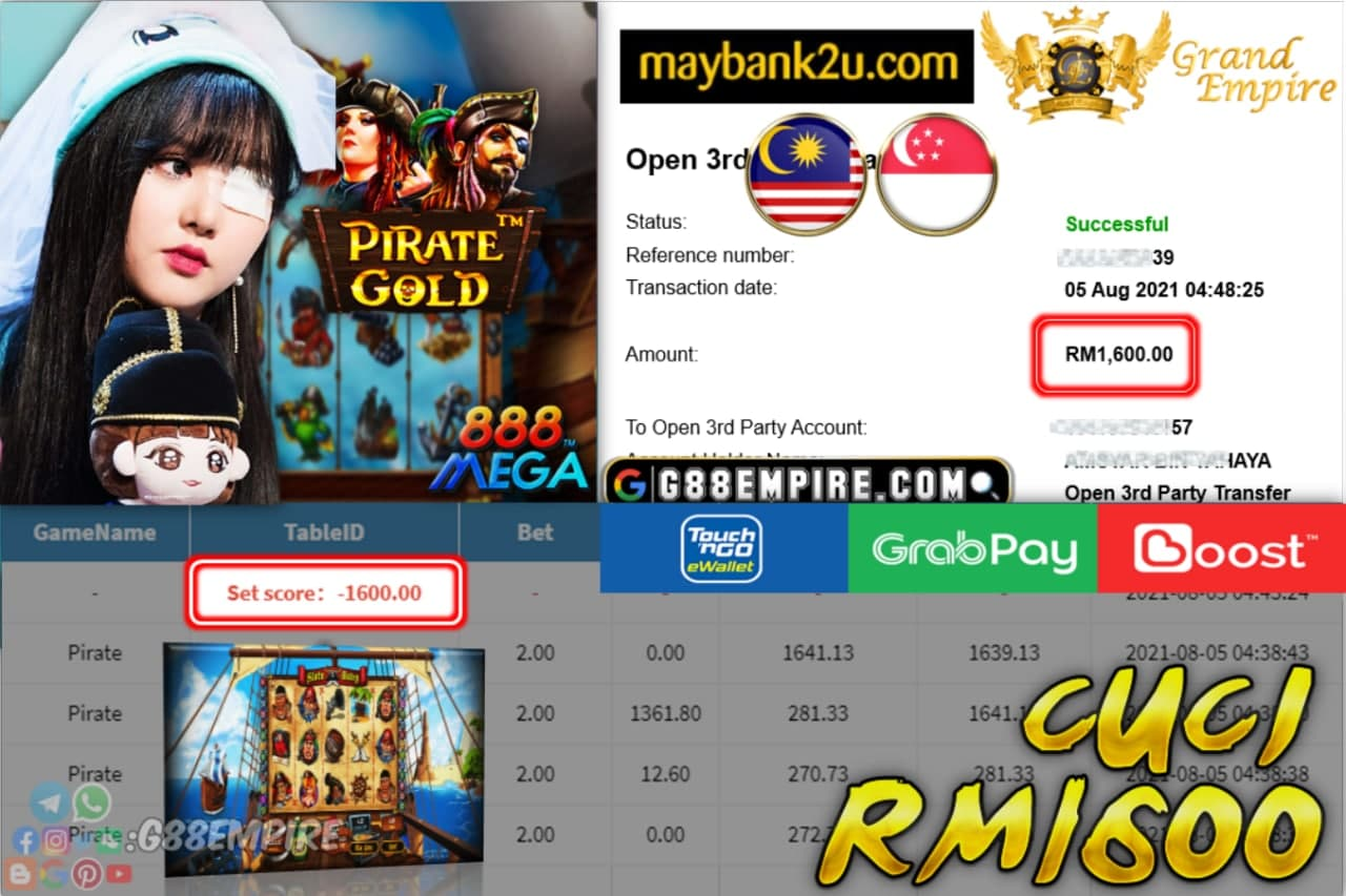 MEGA888 - PIRATE CUCI RM1,600!!!