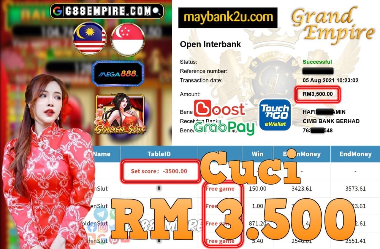 MEGA888 - GOLDENSLUT CUCI RM3,500!!!