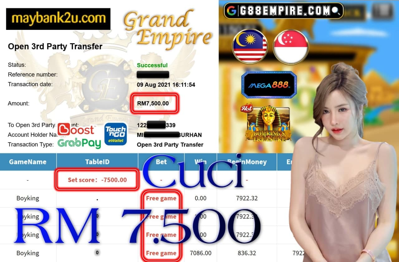 MEGA888 - BOYKING CUCI RM7,500!!!