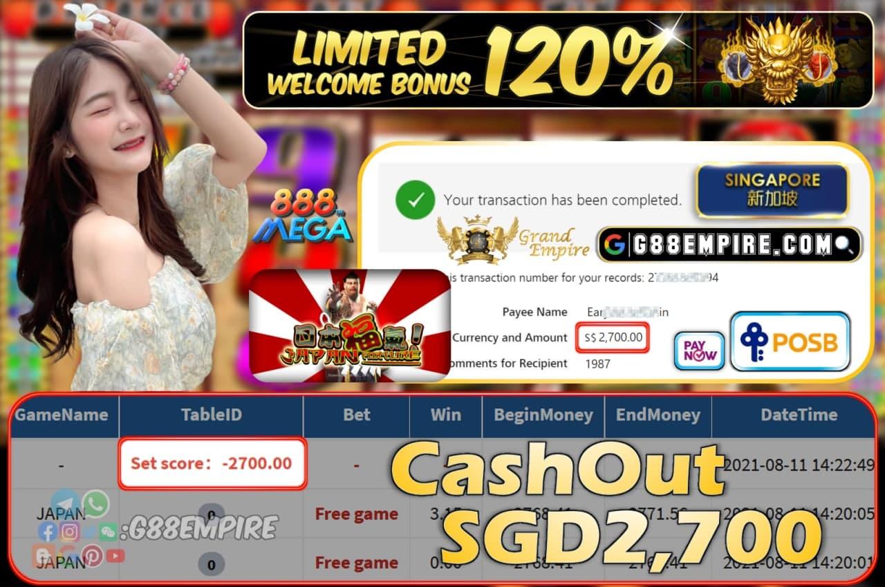 MEGA888 - JAPAN CASHOUT SGD2,700 !!!