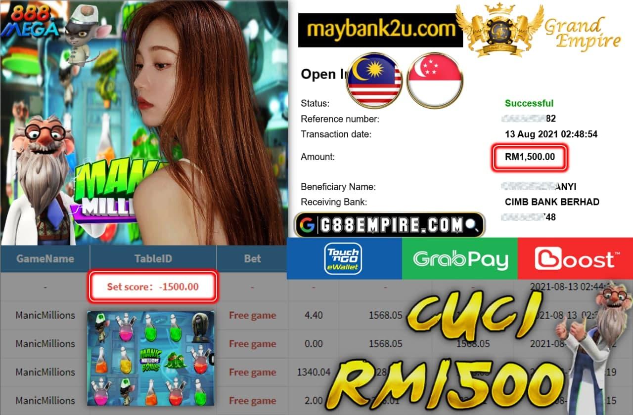 MEGA888 - MANICMILLIONS CUCI RM 1.500!!!!