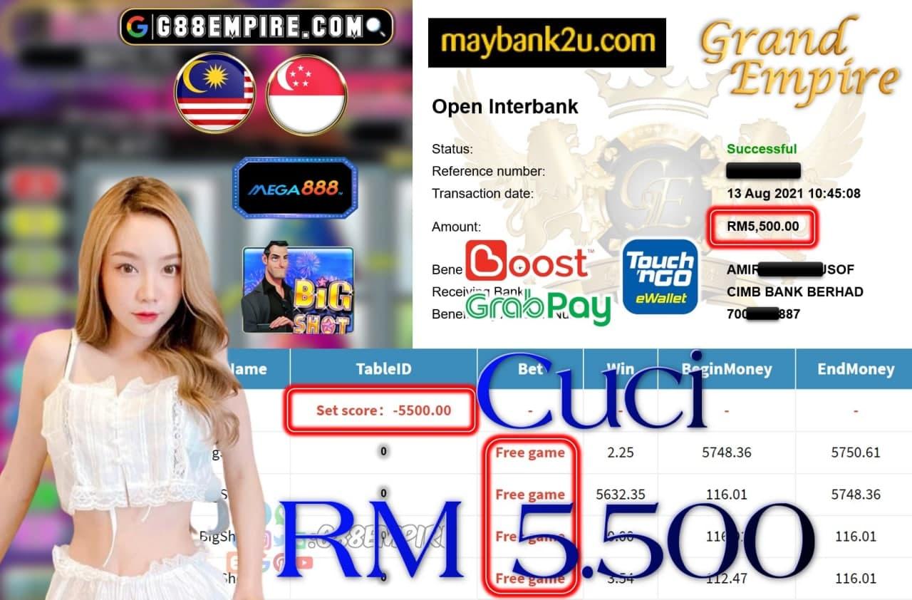 MEGA888 - BIGSHOT CUCI RM5,500!!!