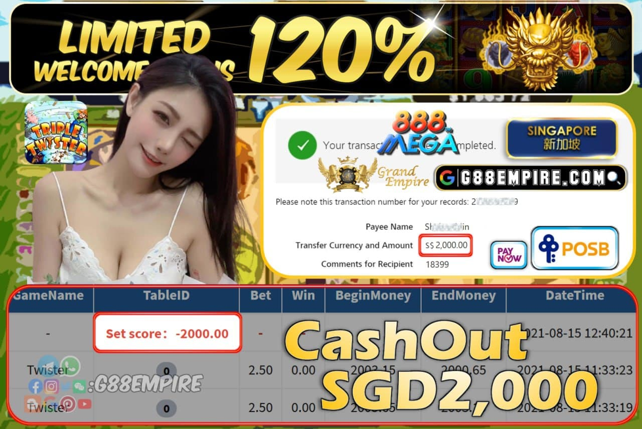 MEGA888 - TWISTER CASHOUT SGD2,000 !!!