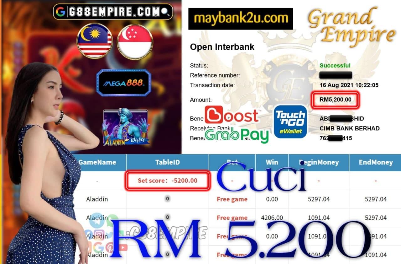 MEGA888 - ALADDIN CUCI RM5,200!!!