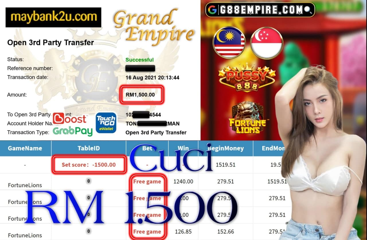 PUSSY888 - FORTUNELIONS CUCI RM1,500!!!