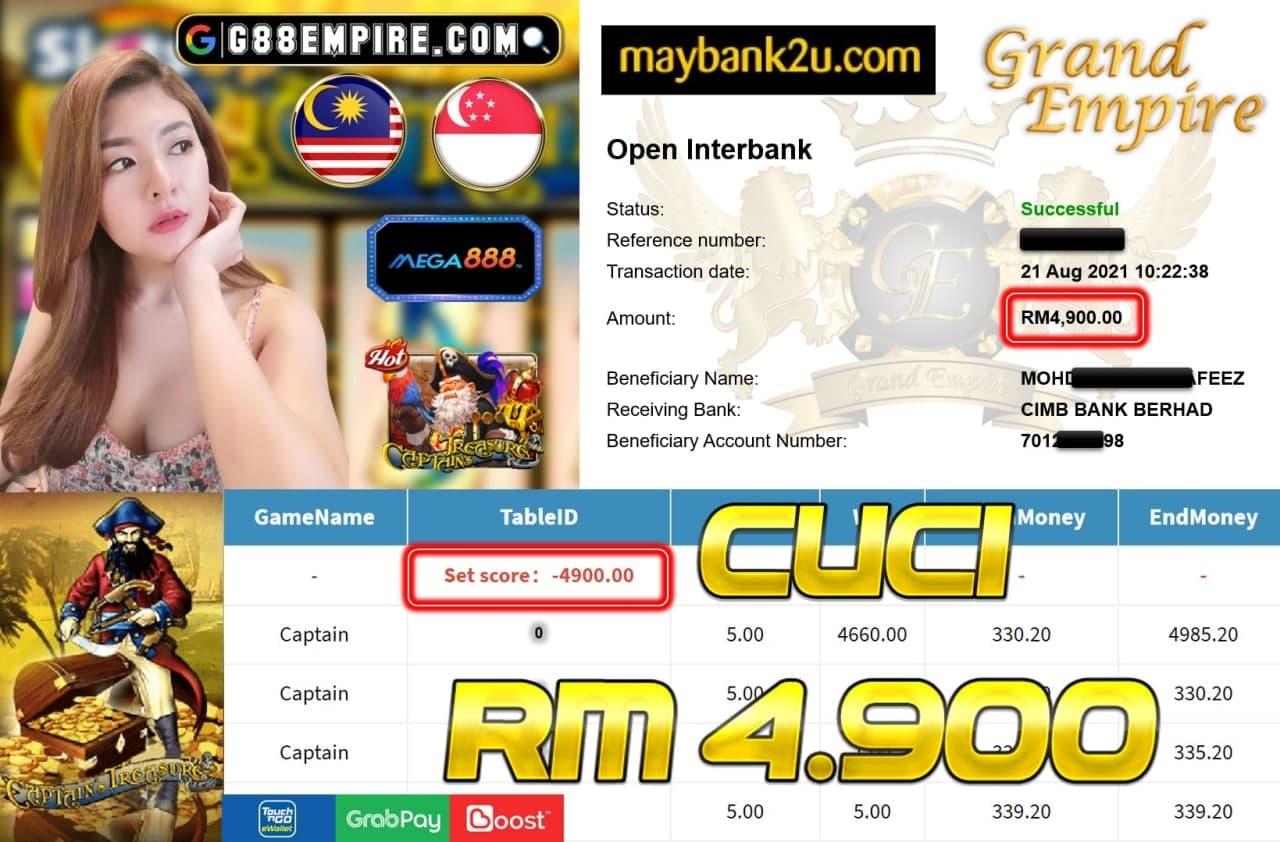 MEGA888 - CAPTAINTREASURE CUCI RM4,900!!!