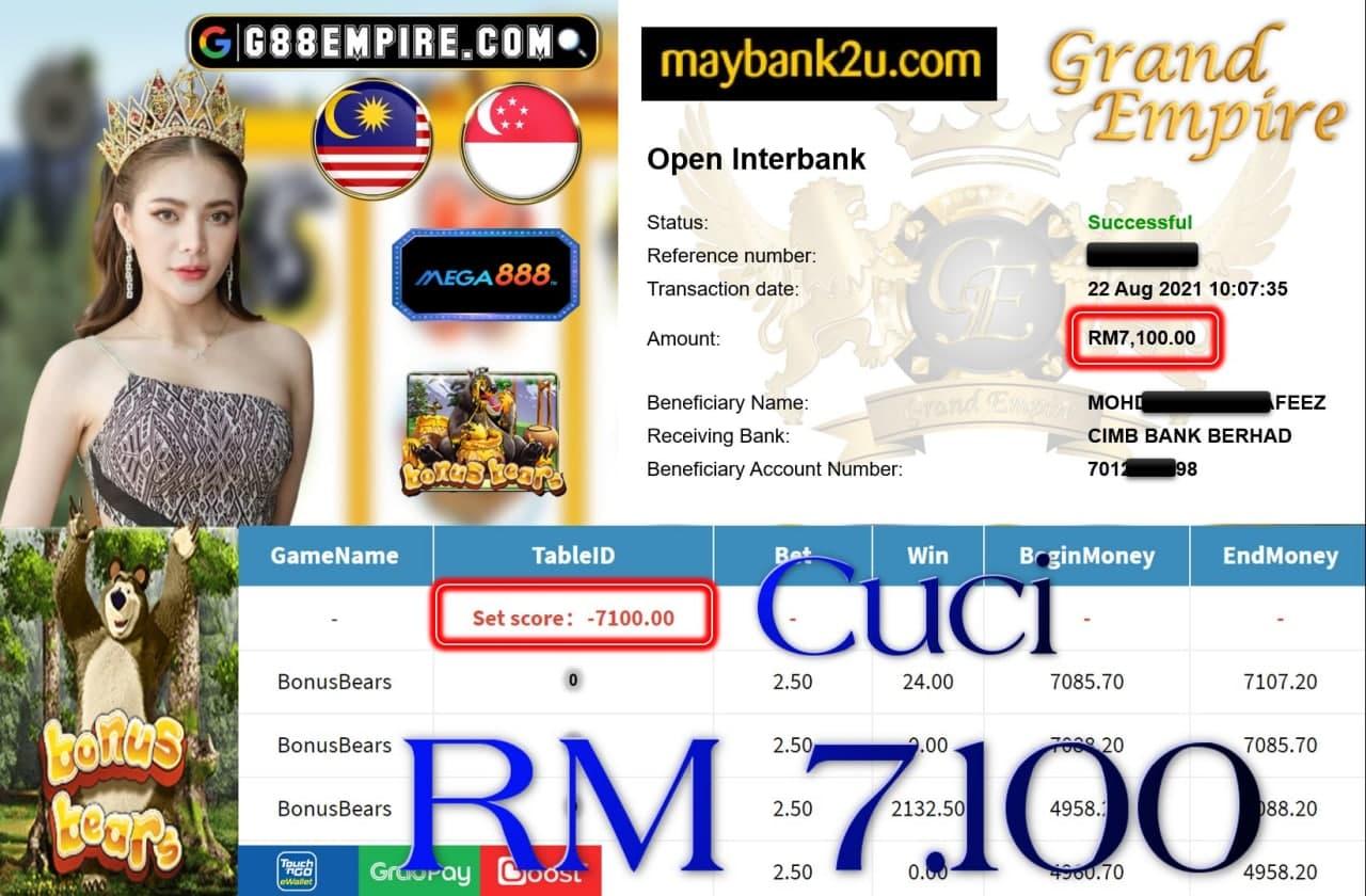 MEGA888 -BONUSBEARS CUCI RM7,100!!!