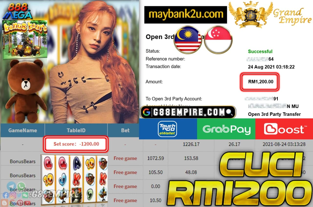 MEGA888 - BONUSBEARS CUCI RM1,200!!!