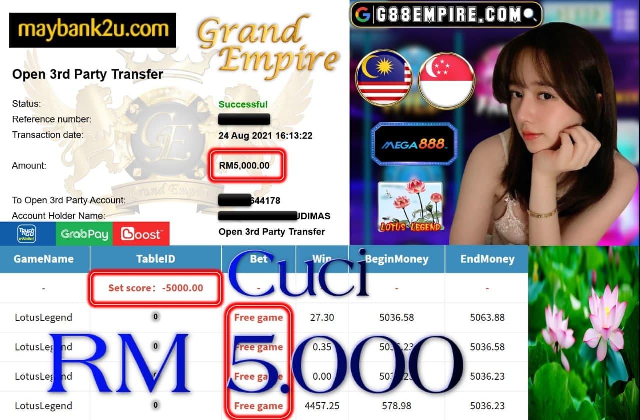 MEGA888 - LOTUSLEGEND CUCI RM5,000!!!