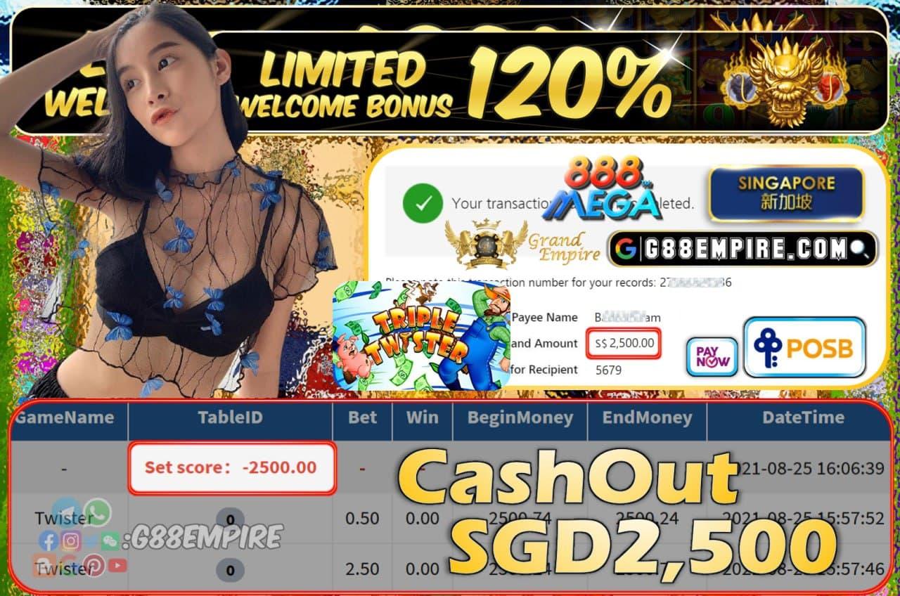 MEGA888 - TWISTER CASHOUT SGD2500 !!!