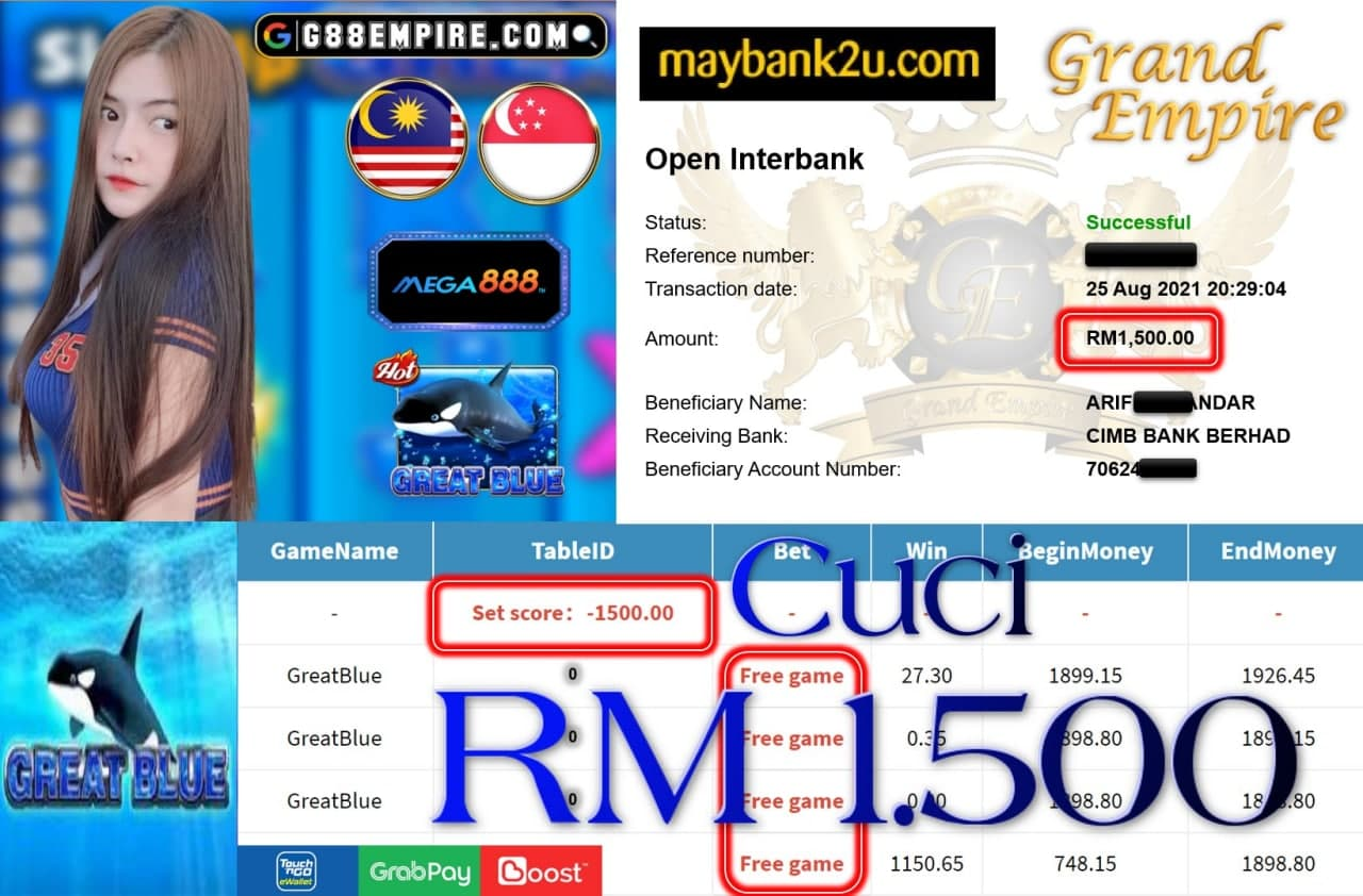 MEGA888 - GREATBLUE CUCI RM1,500!!!