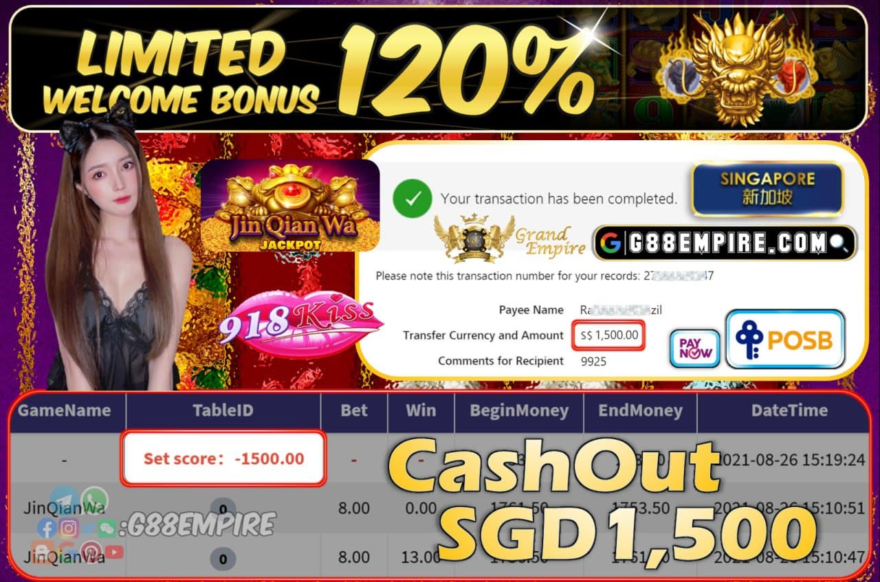918KISS - JINQIANWA CASHOUT SGD1500 !!!