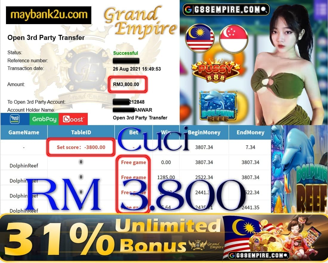 PUSSY888 - DOLPHINREEF CUCI RM3,800!!!