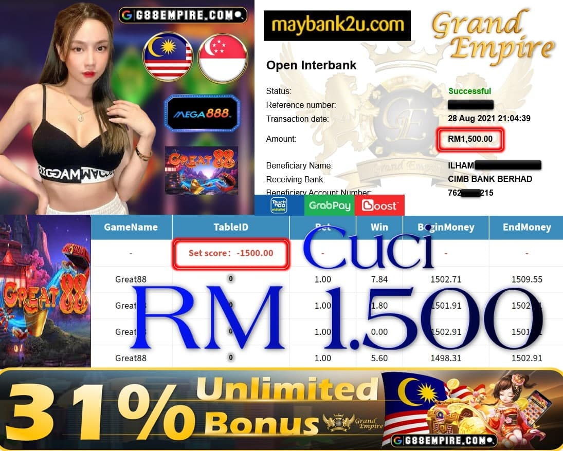 MEGA888 - GREAT88 CUCI RM1,500!!!