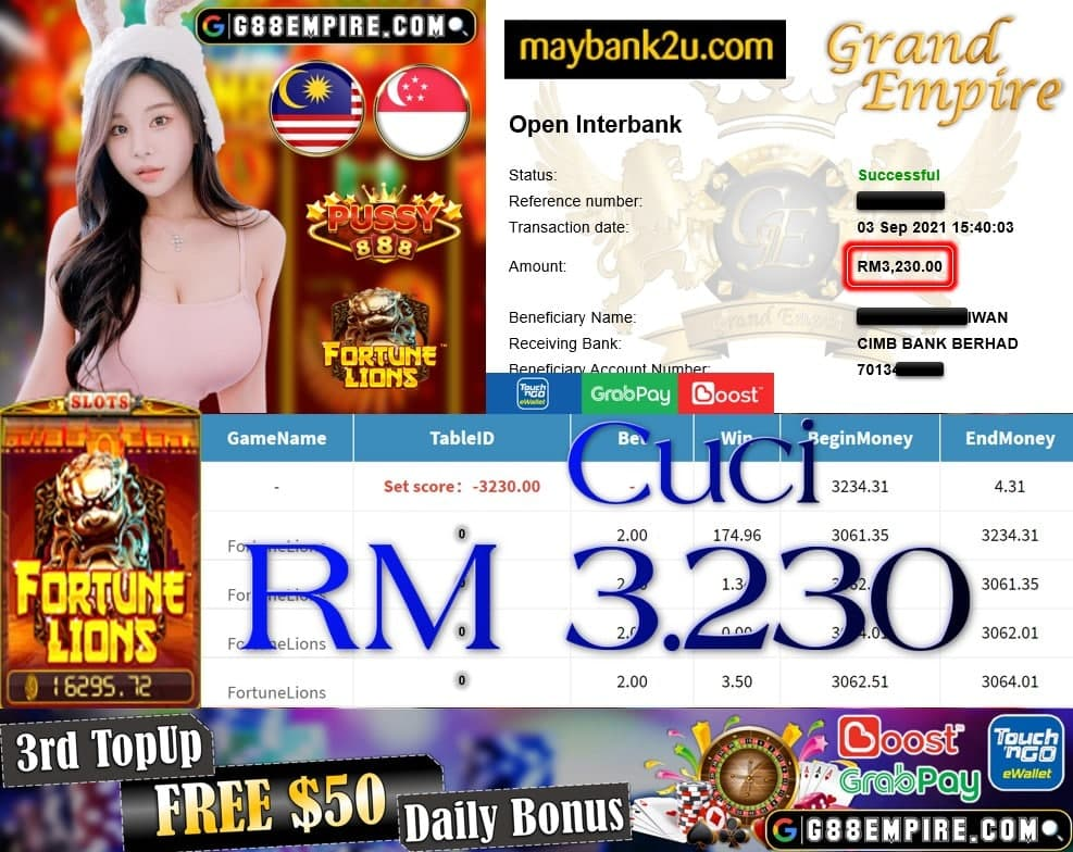 PUSSY888 - FORTUNELIONS CUCI RM3,230 !!!