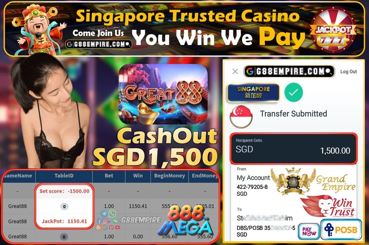 MEGA888 - GREAT88 CASHOUT SGD1500 !!!