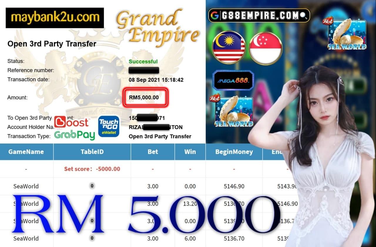 MEGA888 - SEAWOLRD CUCI RM5,000!!!