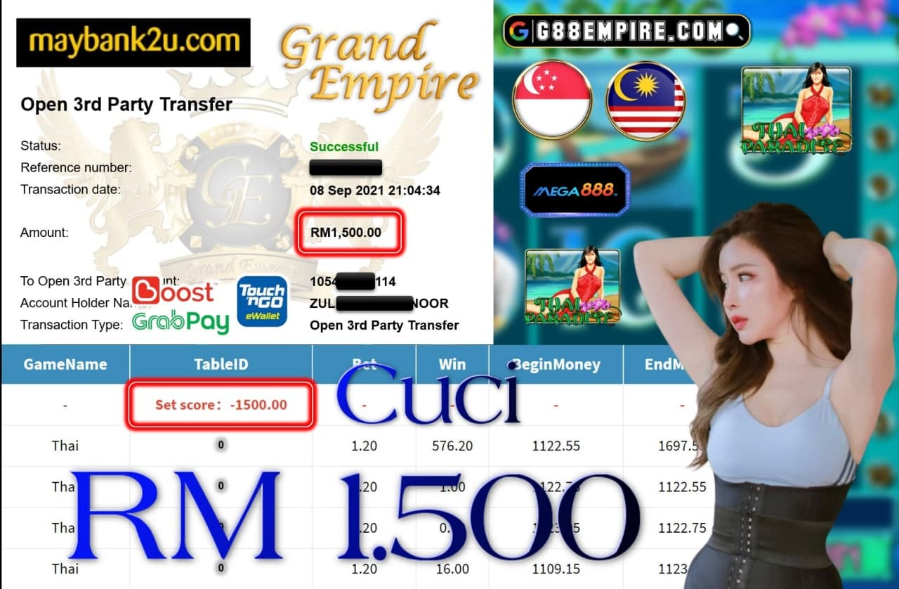 MEGA888 - THAI PARADISE CUCI RM1,500!!!
