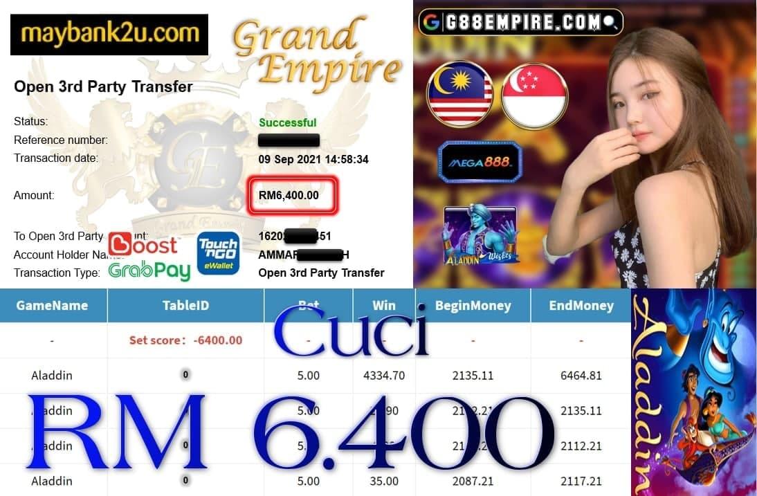 MEGA888 - ALLADIN CUCI RM6,400!!!