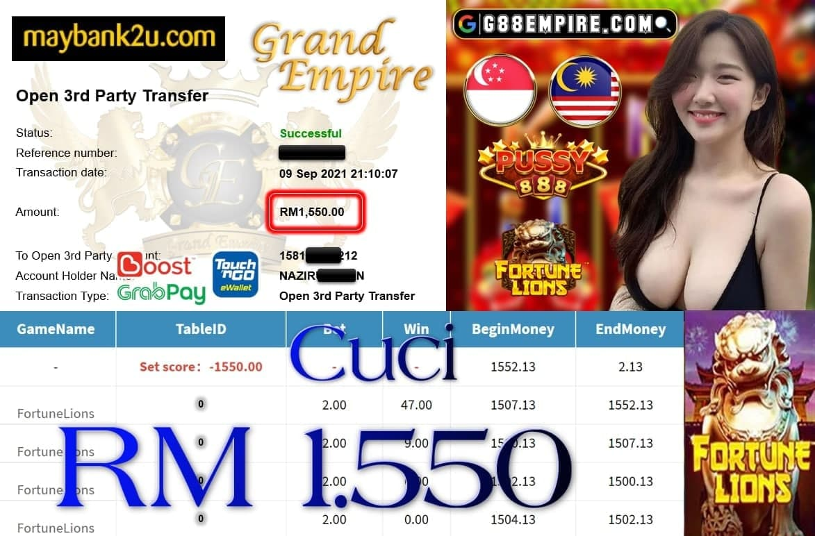 PUSSY888 - FORTUNE LIONS CUCI RM1,550!!!