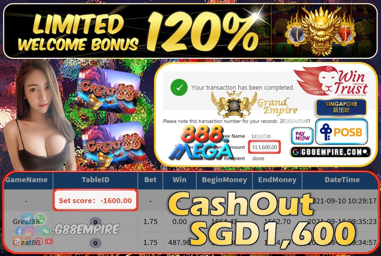MEGA888 - GREAT88 CASHOUT SGD1600 !!!