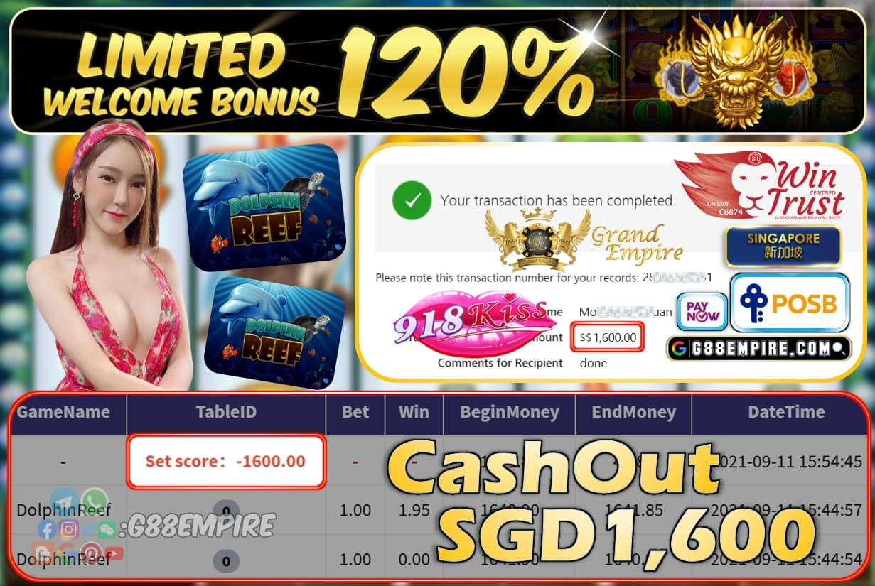 918KISS - DOLPHINREEF CASHOUT SGD1600 !!!