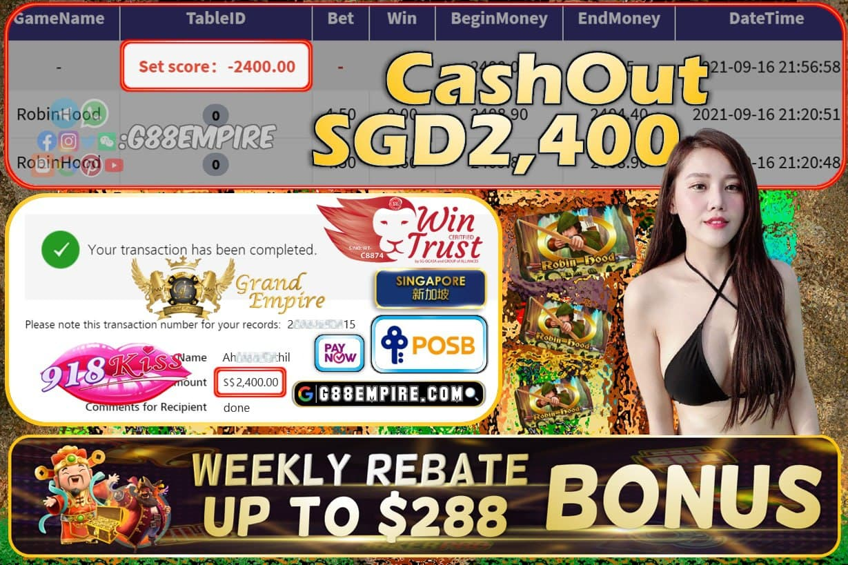 918KISS - ROBINHOOD CASHOUT SGD2400 !!!