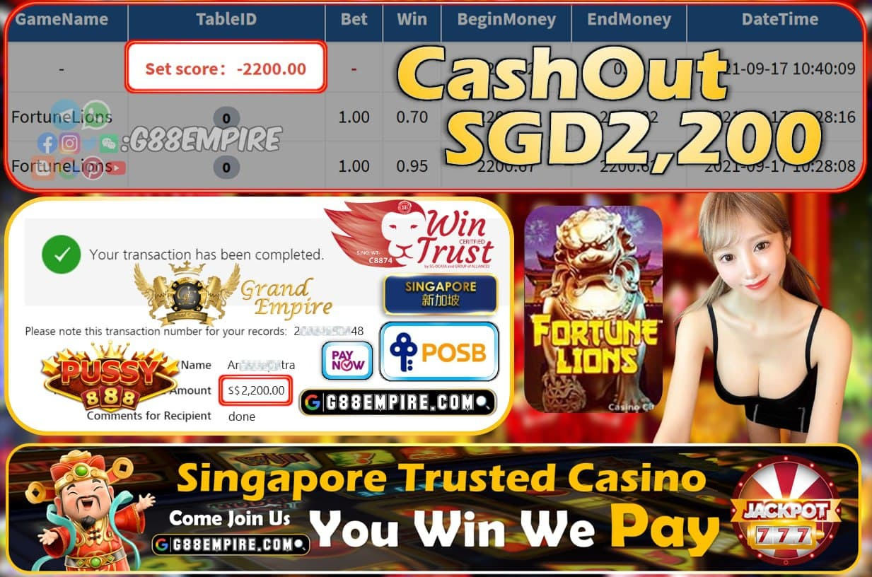 PUSSY888 - FORTUNELION CASHOUT SGD2200 !!!
