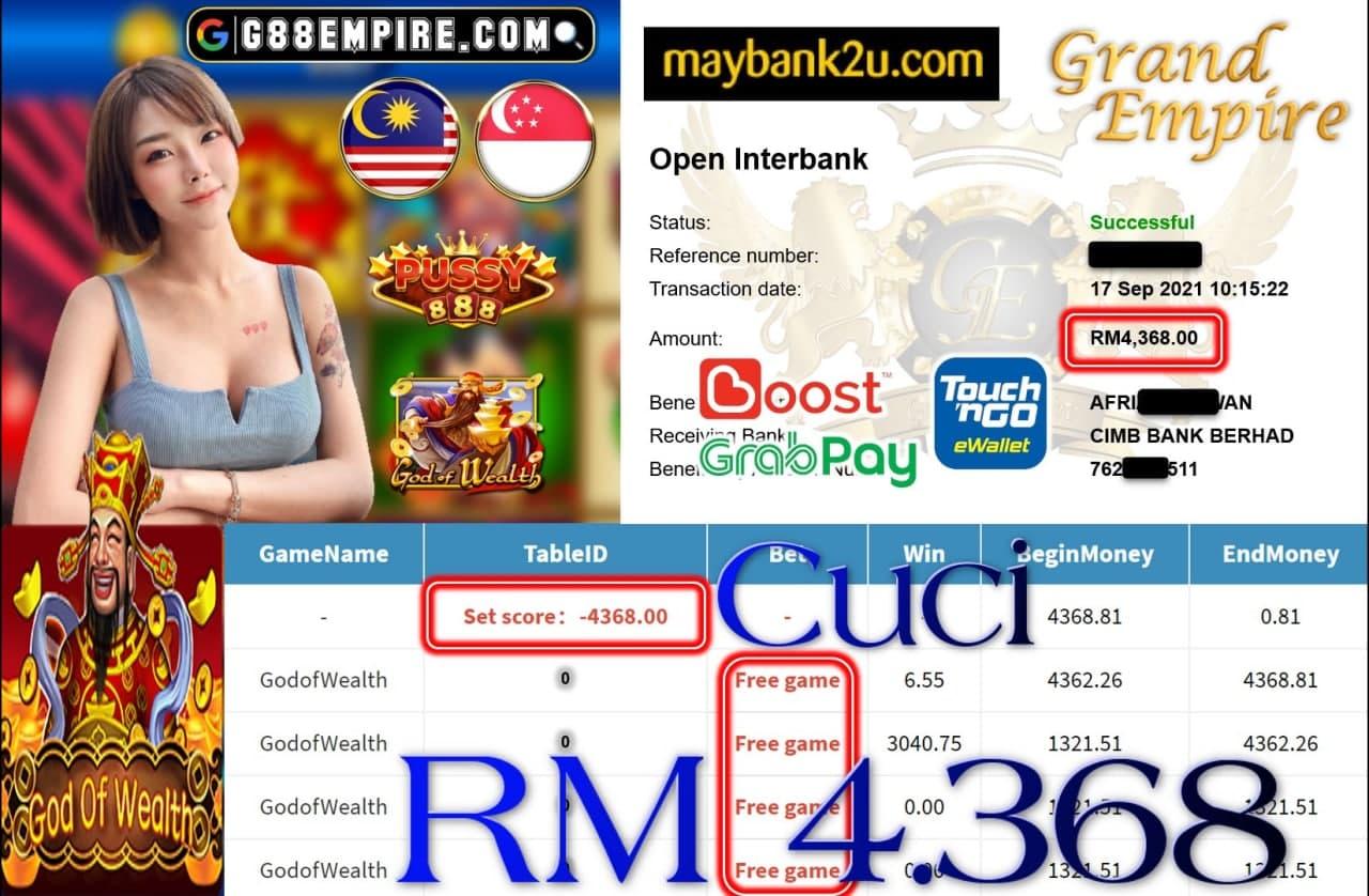 PUSSY888 - GODOFWEALTH CUCI RM4,368!!!