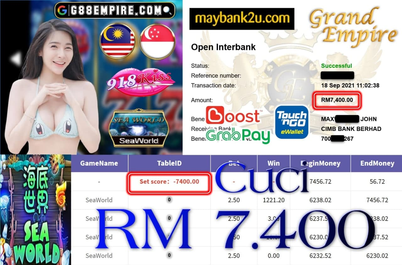 918KISS ORI - SEAWORLD CUCI RM7,400!!!
