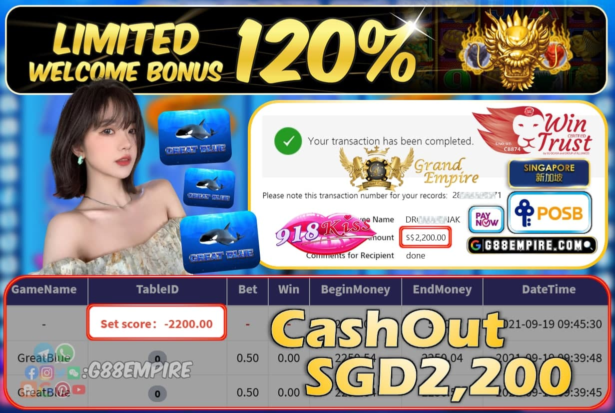 918KISS - GREATBLUE CASHOUT SGD2200 !!!
