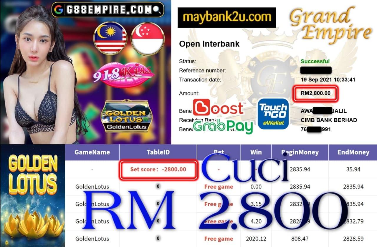 918KISS ORI - GOLDENLOTUS CUCI RM2,800!!!