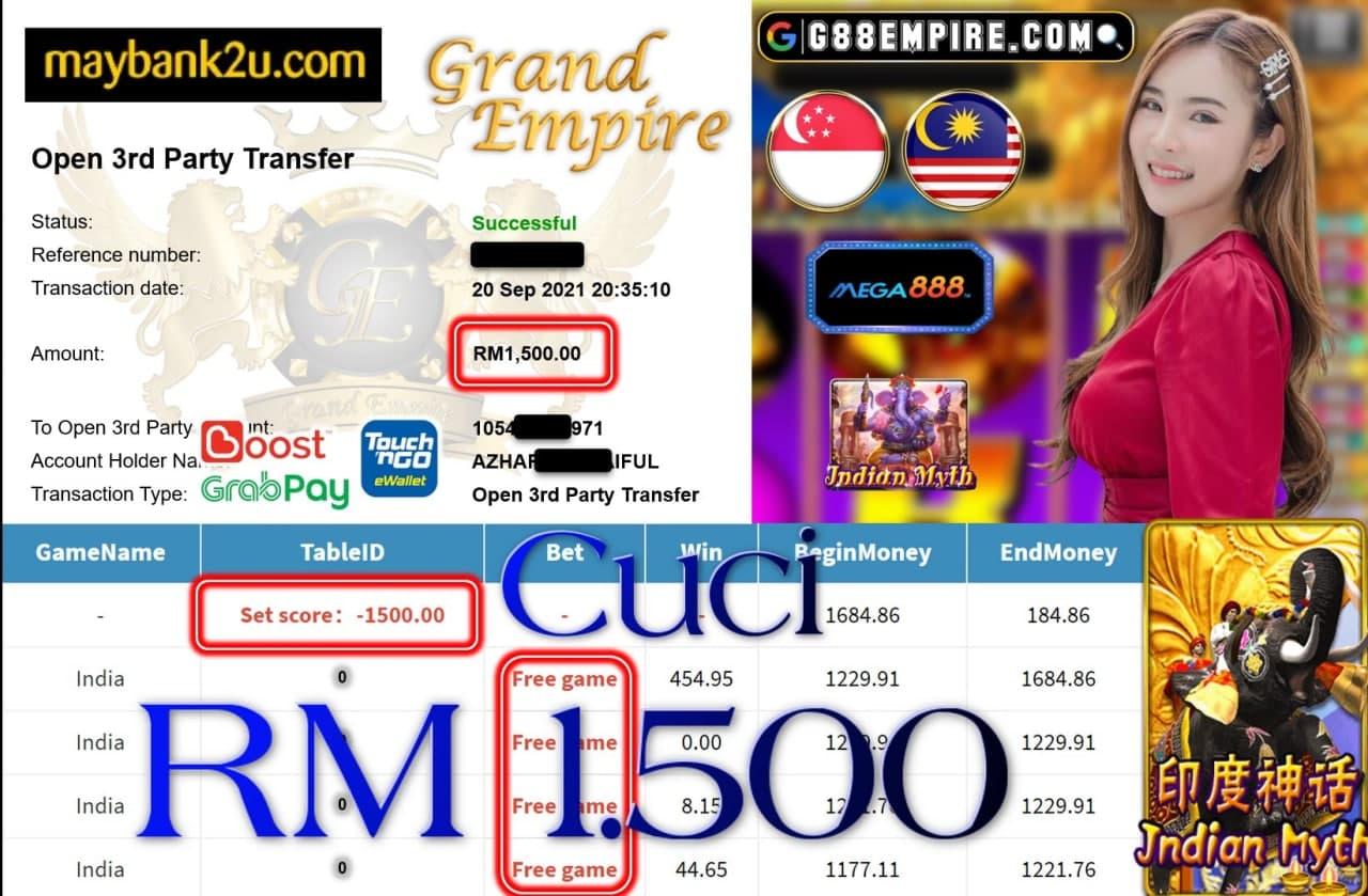 MEGA888 - INDIA MYTH CUCI RM1,500!!!