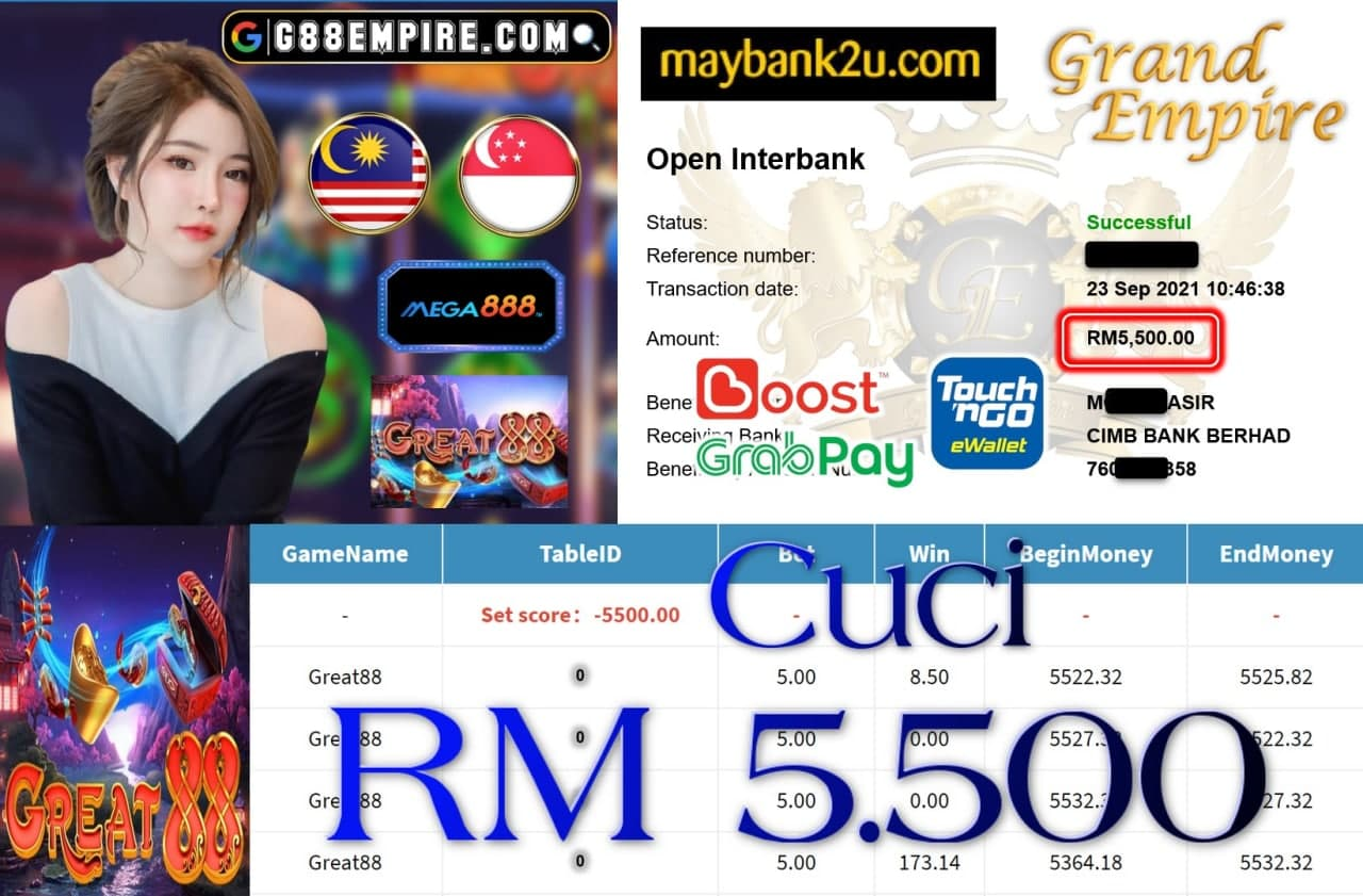 MEGA888 - GREAT88 CUCI RM5,500!!!