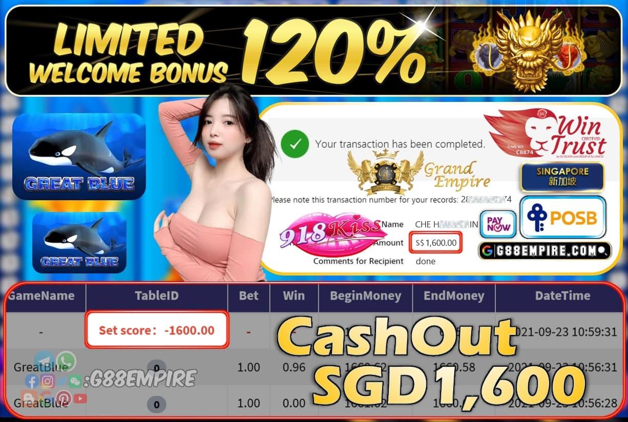 918KISS - GREATBLUE CASHOUT SGD1600 !!!