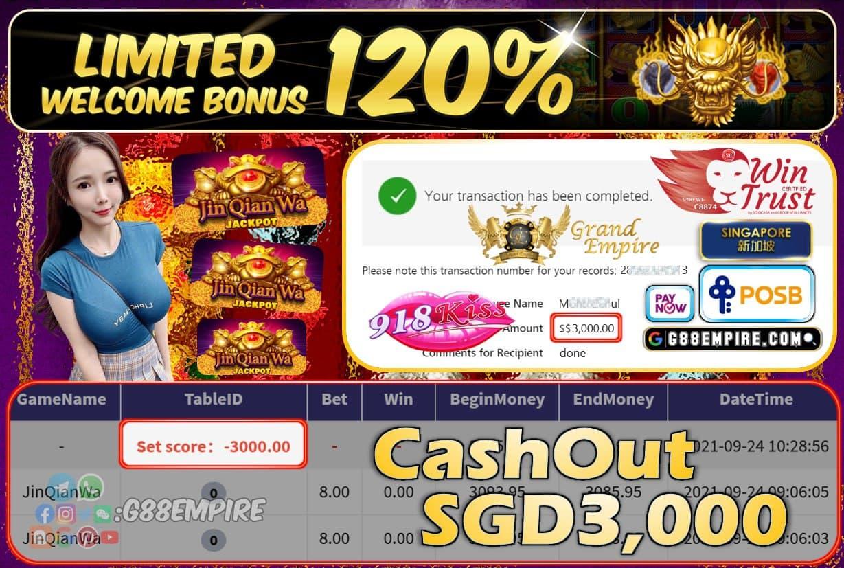 918KISS - JINQIANWA CASHOUT SGD2000 !!!