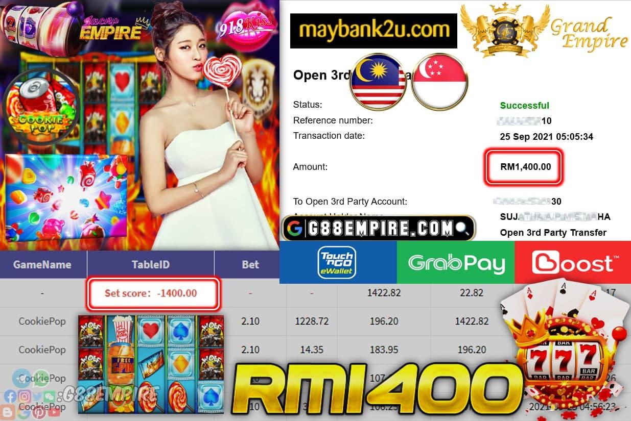 918KISS - COOKIEPOP CASHOUT RM1400 !!!