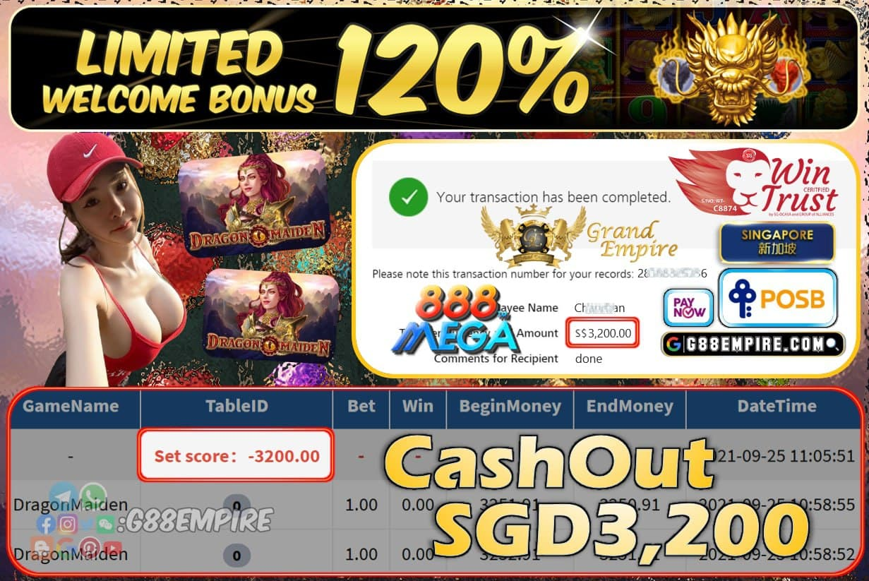 MEGA888 - DRAGONMAIDEN CASHOUT SGD3200 !!!