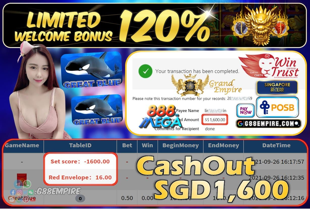 MEGA888 - GREATBLUE CASHOUT SGD1600 !!!
