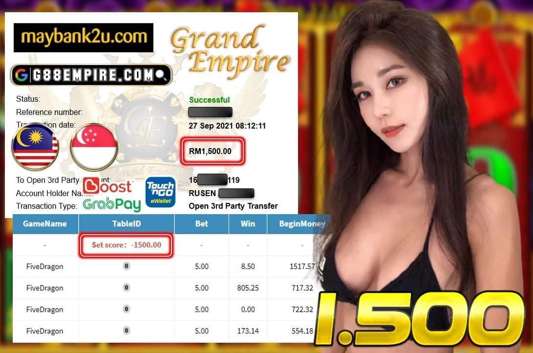 MEGA888 - FIVEDRAGON CUCI RM 1.500!!!