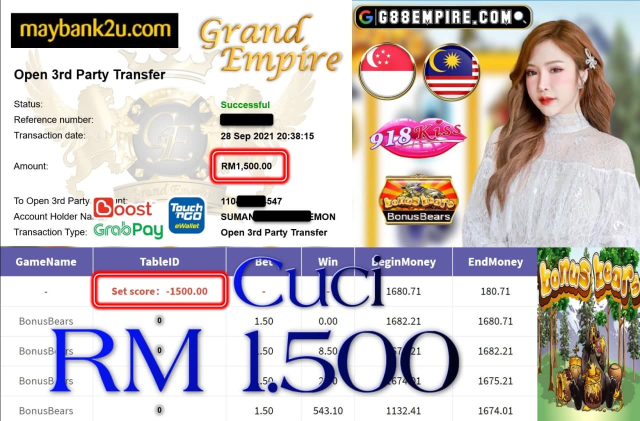 918KISS ORI - BONUS BEARS CUCI RM1,500!!!