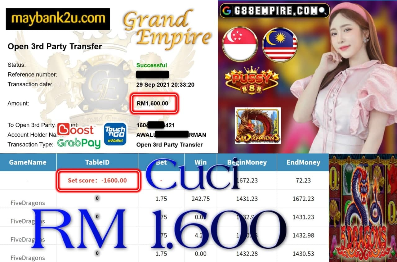 PUSSY888 - FIVE DRAGONS CUCI RM1,600!!!