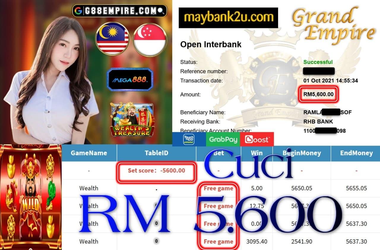 MEGA888 - WEALTH CUCI RM5,600!!!